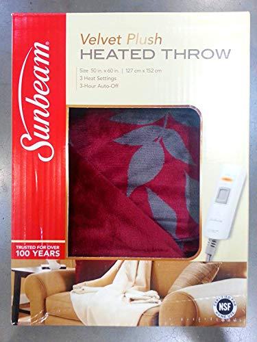 (Sunbeam Electric Heated Throw VelvetPlush Washable 3 Heat Setting Auto-Off - Red Aspen)