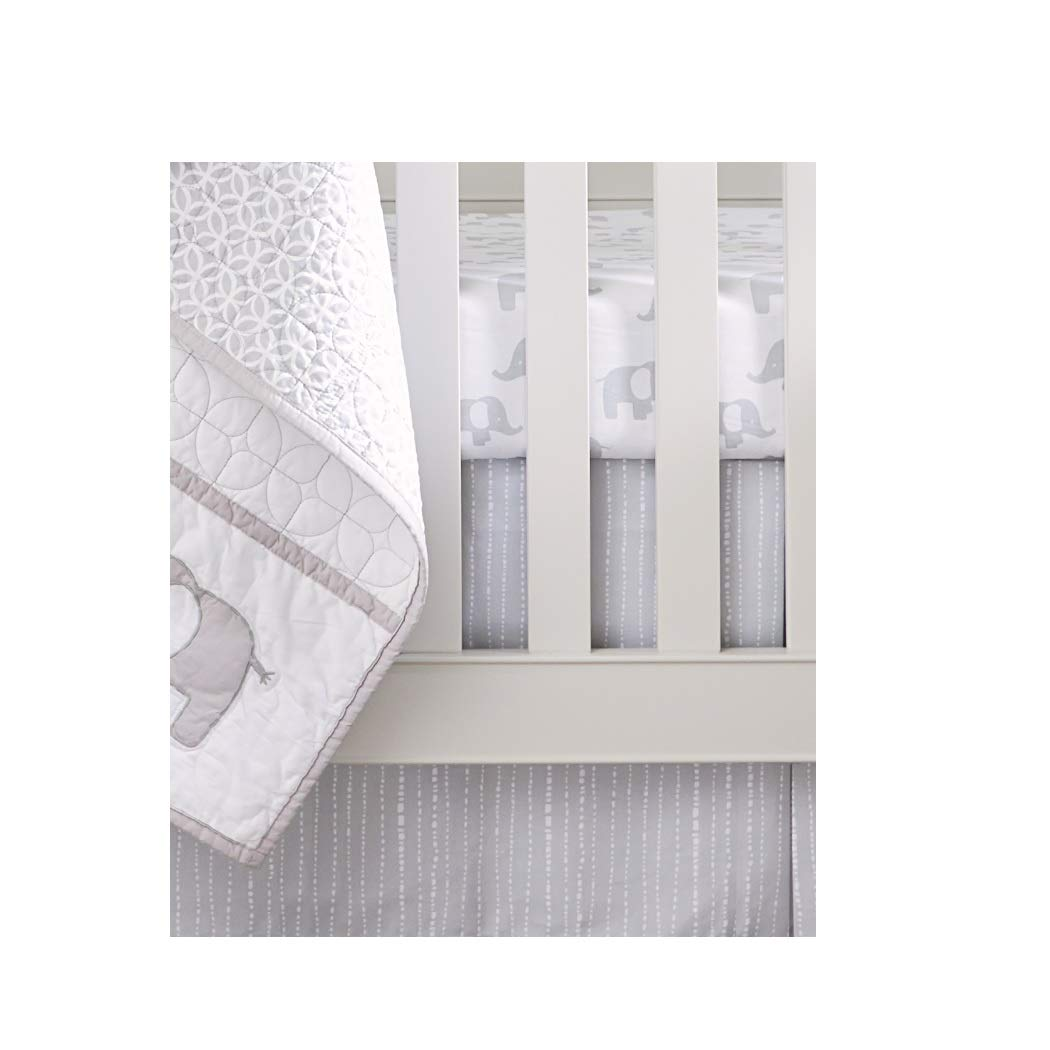 Wendy Bellissimo Dust Ruffle + Baby Crib Skirt from The Hudson Collection - Dot in Grey + White