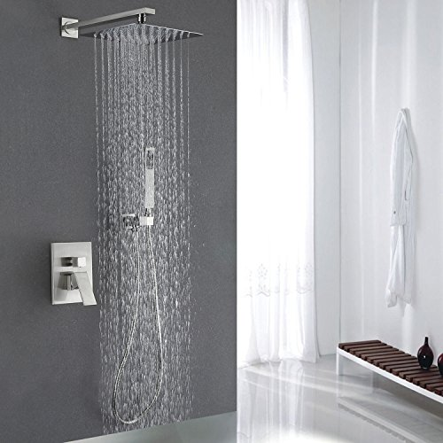 Esnbia Luxury Rain Shower Systems Wall Mounted Shower Combo Set with High Pressure 12 Inch Square Rain Shower Head and Handheld Shower Faucet Set Brushed Nickel by esnbia (Image #6)