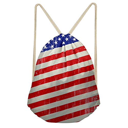 Stylish Print Drawstring Backpack Sackpack Shoulder Bags Gym Sack Bag--American - Usa In Shoping