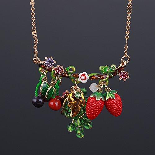 Diamond Strawberry Charm - TKHNE Cloisonne enamel strawberry cherry fruit grape green flash diamond necklace pendant fine