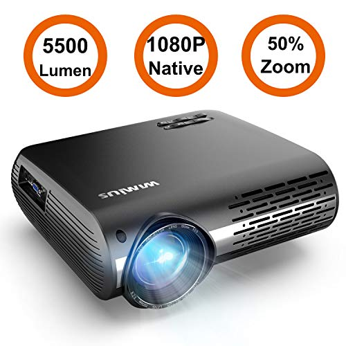 Projector, WiMiUS P20 Native 1080P LED Projector 5500 Lumen Movie Projector Support 4K Video Zoom Function ±50°Digital Keystone Correction 70,000 Hrs for Home Entertainment & PPT Business Presentation