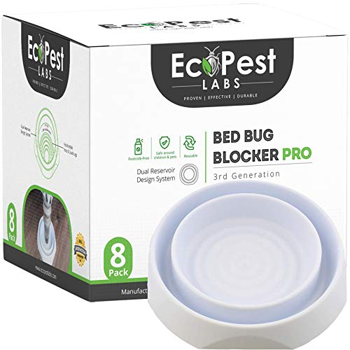 Bed Bug Interceptors - 8 Pack | Bed Bug Blocker (Pro) Interceptor Traps (White) | Heavy Duty, Eco Friendly, Reliable Traps | No Chemicals or Pesticides | Killer, Detector, and Trap for Bed Bugs