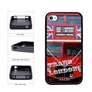 Red Trans London Bus TPU RUBBER Phone Case Back Cover Apple iPhone 5c includes diy case Cloth and Warranty Label