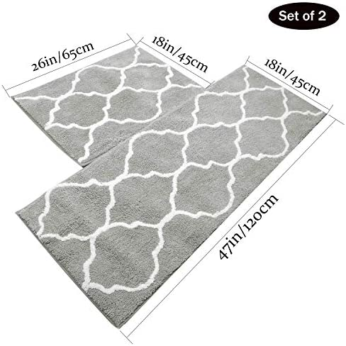U Artlines 2Pcs Doormat Area Rugs Microfiber Decorative Non Slip Floor Mat Machine Washable for Indoor Outdoor Entryway Kitchen 17.7×25.6 17.7×47.2, Gray