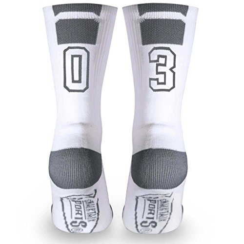 Custom Team Number Crew Socks | Athletic Socks by ChalkTalkSPORTS | White | 03