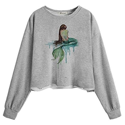 2beaf2e3d74 85%OFF So each Women s Mermaid Art Pattern Crop Tops Hole Casual Pullover  Sweatshirt