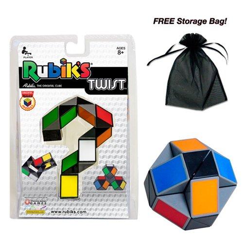 Rubik's Twist Puzzle Cube with Free Storage Bag (Rubix Cube Storage Bag)