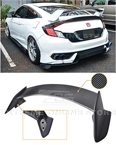 Extreme Online Store Replacement for 2016-Present Honda Civic Coupe FC3 FC4 | JDM Type-R Style Carbon Fiber Rear Trunk Lid Wing Spoiler