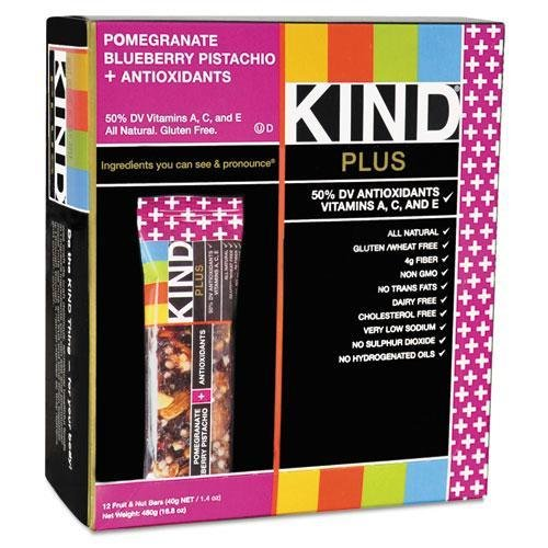 KIND 17221 Plus Nutrition Boost Bar, Pom. Blueberry Pistachio/Antioxidants, 1.4 oz, 12/Box by Reg