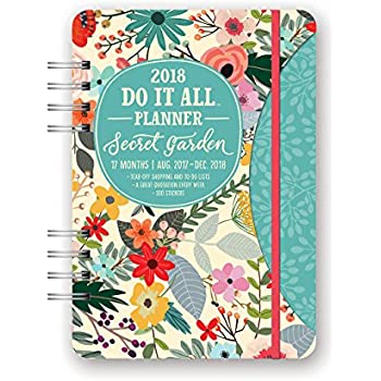 Orange Circle Studio 2018 Do It All Planner, Aug. 2017 - Dec. 2018, Secret Garden