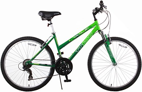 Titan Trail 21-speed Suspension Women's Mountain Bike, 17-Inch Frame, Green and Dark Green