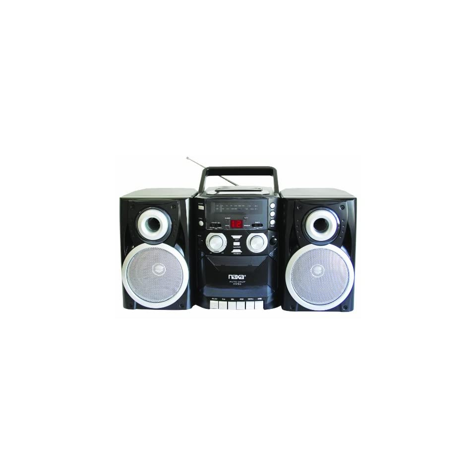 NAXA Electronics NPB 426 Portable CD Player with AM/FM Stereo Radio, Cassette Player/Recorder and Twin Detachable Speakers