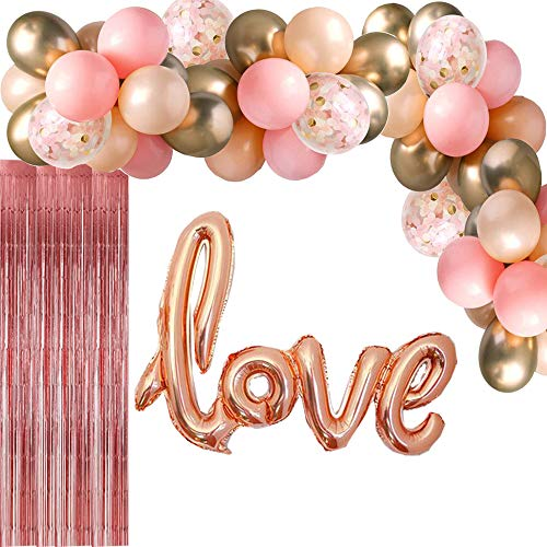 Balloon Arch Garland Kit Rose Gold Glitter Confetti Balloons Metal Chrome Alloy Balloons Love Foil Balloons Metallic Foil Curtain for Party Decoration Birthday Wedding Baby Shower (104 - Foil Balloon Metal