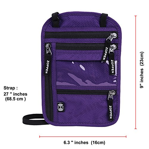 Zoppen RFID -Blocking Travel Passport holder Neck Stash Ultra Slim Wallet Purple by Zoppen (Image #2)