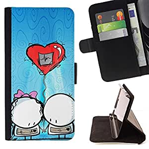 Momo Phone Case / Flip Funda de Cuero Case Cover - Pareja lindo globo - Samsung Galaxy S6 Edge Plus / S6 Edge+ G928