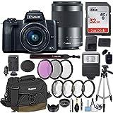 Canon EOS M50 Mirrorless Digital Camera EF-M 15-45mm f/3.5-6.3 & EF-M 55-200mm f/4.5-6.3 is STM Bundle Black + Canon Gadget Bag + 32GB Memory