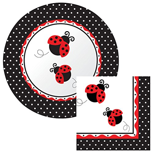 Ladybug Fancy Luncheon Napkin & Plate Party Kit (Shell Luncheon Plate)