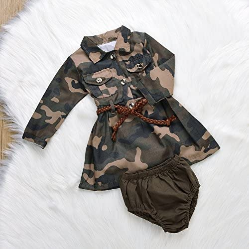 51IrWvhw6GL. AC - IWOKA Baby Girl Camouflage Long Sleeve Bandage Skirts+Green Short Pants Outfit Casual Clothes