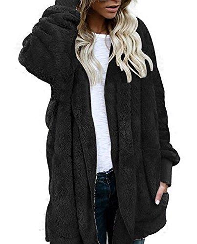 OUR WINGS Women Black Winter Warm Outwear Fleece Sherpa Jacket Hooded Coat with Pocket M