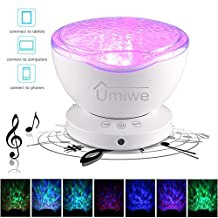 Ocean Wave Night Projector Lamp with Built-in Mini Music Player,Baby Sky Projector Light 12 LEDs 7 Modes with USB Cable