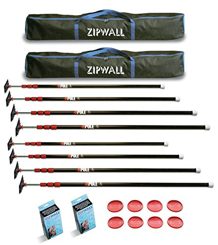 Spring Loaded Poles - ZipWall ZP4 10-Foot Spring-Loaded Poles For Dust Barriers (2-Pack)
