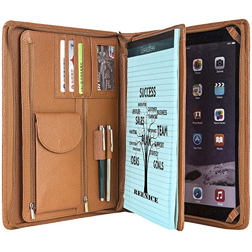 Genuine Leather Portfolio Padfolio Office Organizer Cowhide Business Handmade Briefcase Folio Card Pad Holder for Conference Letter Size/ A4 Legal Pad Folder for 12.9