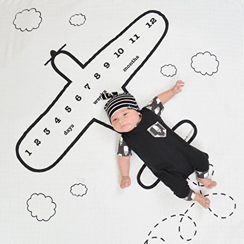 Newborn Baby Muslin Swaddle Print Blankets with Monthly Growth Chart Backdrop Baby Photo Props (Aircraft)