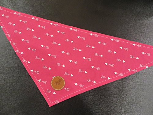 Hand Made in the USA Cat, Pet, or Dog Bandana in Pink and White Arrows