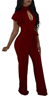 a38ad7c5042 Women Sexy Jumpsuits Casual Turtleneck Long Sleeve Floral Bandage Wide Leg Long  Pants Rompers Party Club