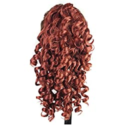 Curly Horsetail Hair Wigs, Inkach Trendy Girls Clip-in Fake Synthetic Wig Lifelike Human Hair Wigs (Red)