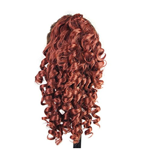 Brazilian Carnival Costumes Fancy Dress (Curly Horsetail Hair Wigs, Inkach Trendy Girls Clip-in Fake Synthetic Wig Lifelike Human Hair Wigs (Red))