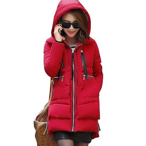 Chaqueta de algodón hasta la mitad del abrigo largo Mujeres con capucha de espesor cálido Invierno s...