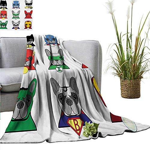AndyTours Faux Fur Throw Blanket,Superhero,Bulldog Superheroes Fun Cartoon Puppies in Disguise Costume Dogs with Masks Print,Multicolor,Soft Fabric for Couch Sofa Easy Care 60
