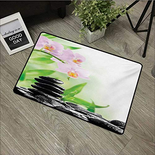 Printed Door mat W35 x L59 INCH Spa,Zen Basalt Stones and Orchid with Dew Peaceful Nature Theraphy Massage Meditation,Black Pink Green Non-Slip Door Mat Carpet