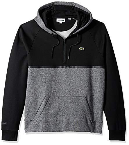 Lacoste Men's Sport Long Sleeve Color Blocked Half Zip Hoodie, Senecio Chine Black, Medium