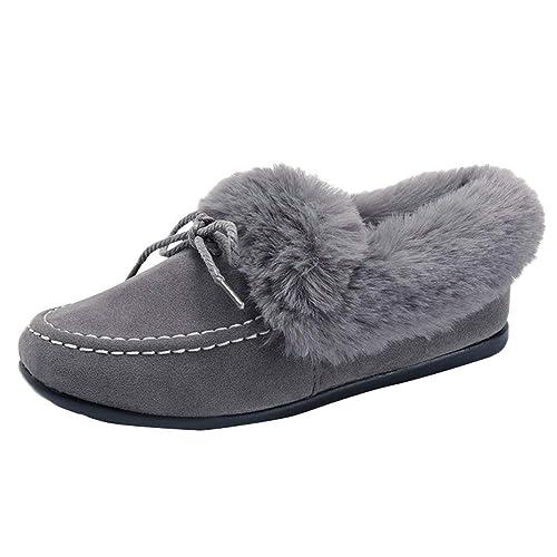 QinMM Botas Planas de Las Mujeres de Felpa Zapatos de algodón de Terciopelo Botas de Nieve de Mocasines Zapatillas de Estar por casa Negro marrón Gris: ...