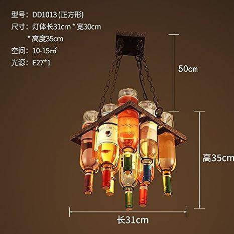 AHFZHASK Barras de viento industriales lámparas American retro restaurante peluquería creativa personalidad hierro arte botella lámparas