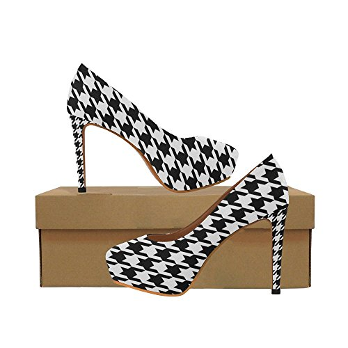 High Houndstooth Pump Heel (Unique Debora Custom Fashion Sexy Women's High Heels Platform Pump Shoes for Black and White Houndstooth Classic Pattern)