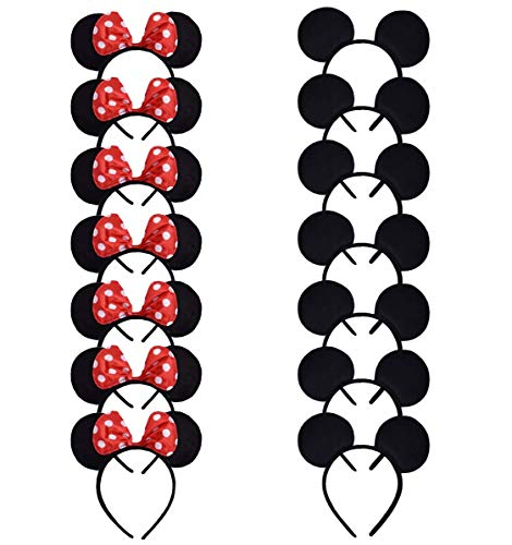 ALRBE TIN Mickey Minnie Mouse Ears Solid Black and Red Bow Headband for Boys and Girls Birthday Costume Party Deluxe Fabric Ears Party Headband Set Pack of 14