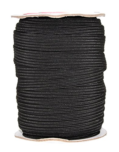 Mandala Crafts Colored Polyester Rubber Knit Flat Elastic Stretch Band Cord Spool Roll for Sewing Clothes Waistbands (1/2 Inch 12mm 20 Yards, Black)
