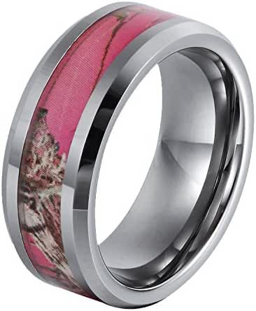 Will Queen 8mm Beveled Tungsten Wedding Ring, 4mm Width of Camo Inlay, White Wedding Bands for Men Women Comfort Fit Fashion Rings