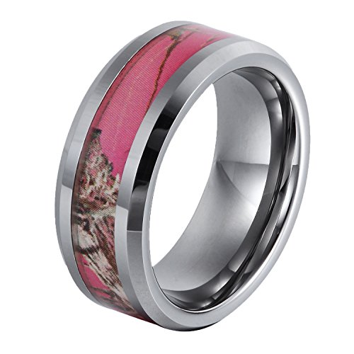 GER 8mm Tungsten Ring Gift Camo Hunting Camouflage Pink Tree Women's Wedding Band,Size 7.5