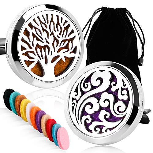 2 Packs Car Diffuser Vent Clip Car Diffuser Essential Oils Stainless Steel Aromatherapy Locket with Refill Pads(Tree of Life & Clouds) (Candles Blend Aromatherapy)