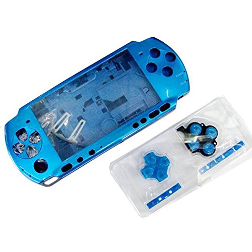 OSTENT Full Housing Shell Faceplate Case Repair Replacement Compatible for Sony PSP 3000 Console Color Blue ()