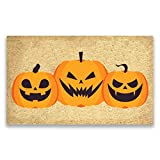 Pure Coco Coir Doormat with Heavy-Duty PVC Backing - Halloween Three Pumpkins - Size: 18-Inches x 30-Inches - Pile Height: 0.6-Inches - Perfect Color/Sizing for Outdoor/Indoor uses.
