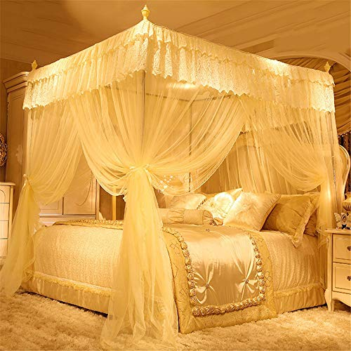 Mosquito net Bedroom Single Bed Gauze Three Door Home Princess Room Floor-Standing Stainless Steel Bracket Decorative Tent, Yellow, 1.8M by Lostryy-Mosquito Nets Baby (Image #1)