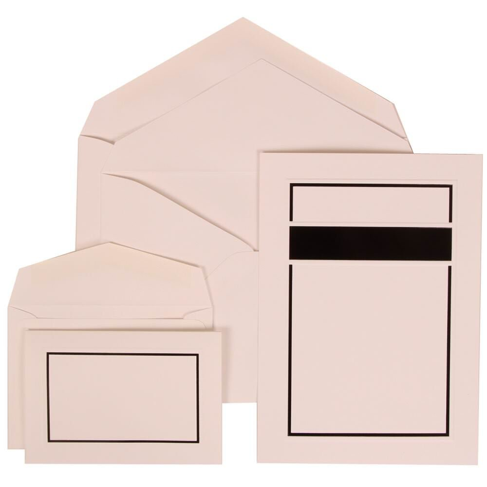 JAM Paper Wedding Invitation Combo Sets - 1 Small & 1 Large - Red and Black Border Sets, White Card with White Envelope - 150/pack