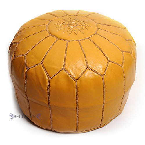 BeldiNest Stuffed Ottoman Leather Pouf, Pouffe, Handcrafted Ottoman, Handmade Moroccan Pouf (Mustard) ()