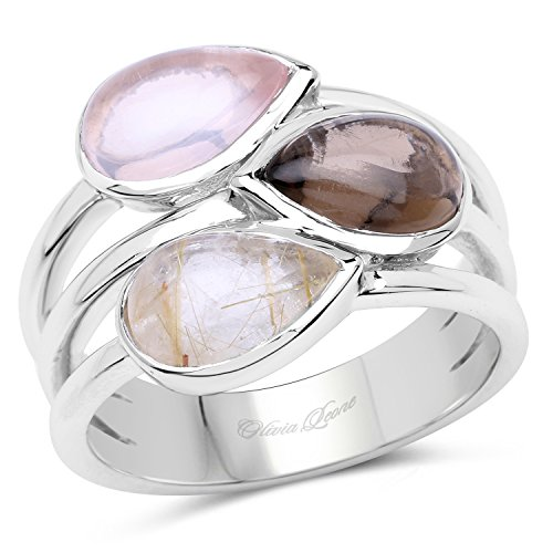 4.07 Carats Genuine Rose Quartz, Smoky Quartz, and Rutile Ring Solid .925 Sterling Silver With Rhodium Plating